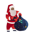 cartoon santa claus presents boxes bag vector image vector image