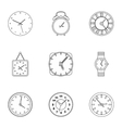Clock icons set outline style vector image vector image
