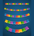 color paper flags garlands on dark background vector image vector image