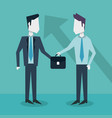 colorful background with businessmen exchanging vector image vector image