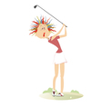 Comic cartoon women is playing golf vector image vector image