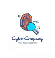 cyber company thumb impression logo with white vector image