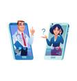 doctor consulting patient online via smartphone vector image