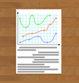 document with color curve line graphic vector image vector image