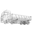 dump truck sketch isolated on white background vector image vector image