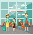 family travel concept poster parents with vector image vector image