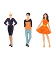 Fashionable females girls in different dress vector image vector image