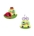 flat people travelling in car isolated set vector image