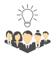 Flat portraits of staff with idea lamp isolated on vector image vector image