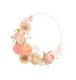 floral wreath with watercolor dry pastel flowers vector image