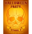 Halloween Party Background with Human Skull vector image