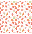 Hand drawn seamless pattern with cupcakes Birthday vector image vector image