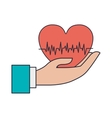 hand holding red heart with signs of life vector image