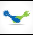 handshake of light bulb and plug vector image