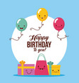 happy birthday kawaii ballons vector image
