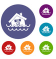 house sinking in a water icons set vector image vector image