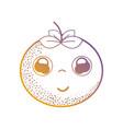 line kawaii cute happy orange fruit vector image vector image