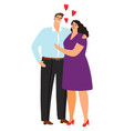 love man and woman hugging isolated on white vector image vector image