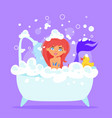 mermaid character taking a bath vector image vector image