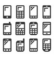 mobile phone icons set on white background vector image vector image