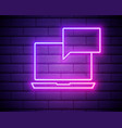 neon light internet messages line icon chat or vector image vector image