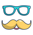 nerd glasses and mustaches icon cartoon style vector image vector image