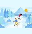 people skiing in resort winter landscape vector image