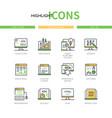 programming - modern line design style icons set vector image