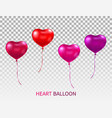 realistic heart shaped balloons set isolated on vector image