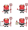 Red Devil Boss With A Trident Collection vector image vector image