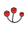 red flowers floral ornament icon vector image