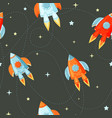 rocket flat seamless pattern for project start up vector image vector image