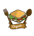 sandwich icon with spoon and fork organic concept vector image