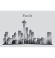 Seattle city skyline silhouette in grayscale vector image vector image