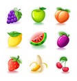 set colorful fruits - glossy cherries grapes vector image