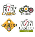 set four casino online logos for gambling sites vector image vector image