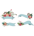 Set of ribbon with flower vector image