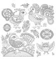 set original black and white line art rooster vector image
