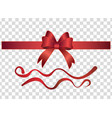set red gift decorative bows and ribbons 3d vector image