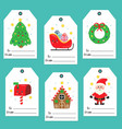 set tags with cute christmas characters vector image