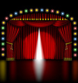 stage with opening red curtain vector image