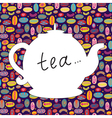 Tea time background with teapot vector image vector image