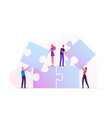 team work metaphor people connecting puzzle vector image vector image