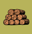 tree cuts or a pile firewood hand drawn vector image