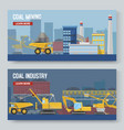 two mining industry horizontal banners set vector image vector image
