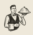 waiter with a tray sketch restaurant food vector image vector image