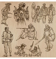 Warriors and Soldiers - Hand drawn vector image vector image