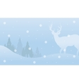 Winter Christmas deer landscape of silhouettes vector image vector image