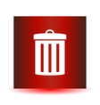 Icon garbage can on a red background Image vector image