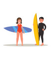 a man and a woman are surfing vector image